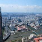 Từ trên tầng 47 Bitexco Tower nhìn xuống Saigon