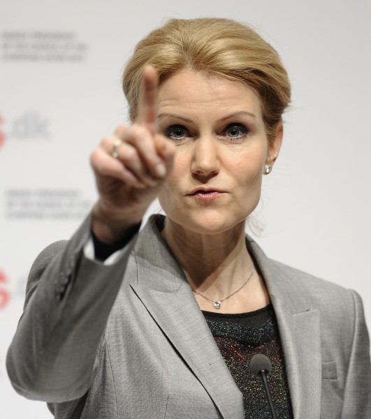 Danish Prime Minister Helle Thorning-Schmidt gestures during a news conference with European Commission President Jose Manuel Barroso in Copenhagen