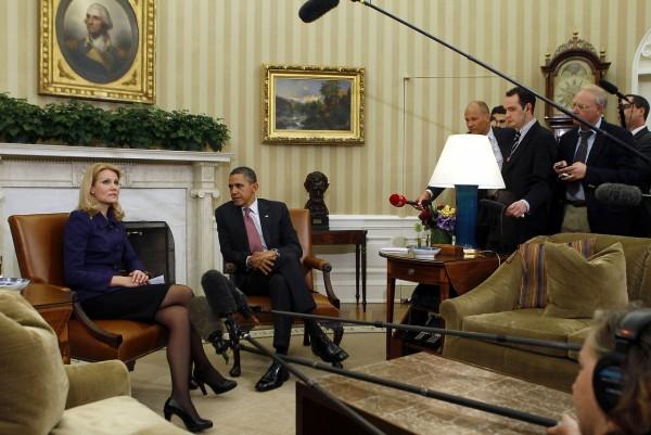 U.S. President Obama listens to Danish PM Thorning-Schmidt speak in Washington, Barack Obama