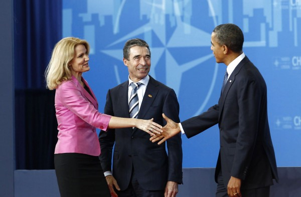 U.S. President Obama and NATO Secretary-General Rasmussen welcome Denmark's Prime Minister Thorning-Schmidt on her arrival at the NATO Summit in Chicago, Barack Obama