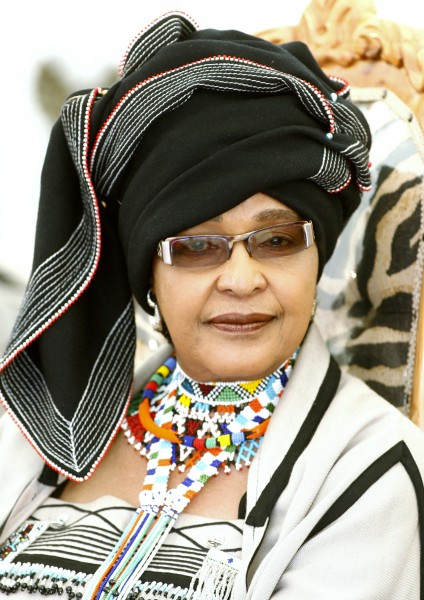 Nelson Mandela's ex-wife Winnie Madikizela-Mandela arrives at a ceremony to honour Mandela by the African chiefs, kings and queens at Freedom Park in Pretoria