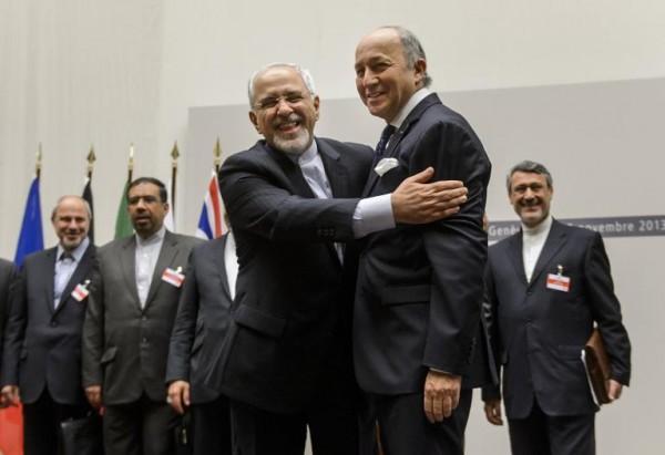 iran-foreign-minister-zarif-hug-french-fm-nov2013