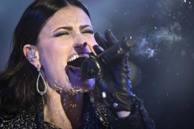 Singer Idina Menzel performs in Times Square on New Year's Eve in New York