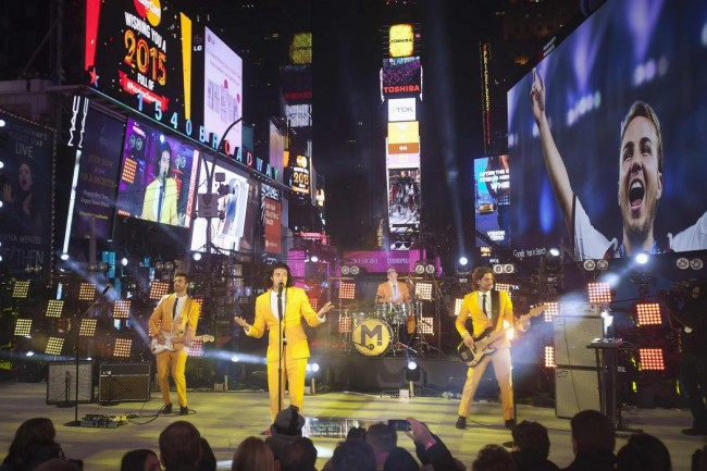The band Magic performs in Times Square on New Year's Eve in New York