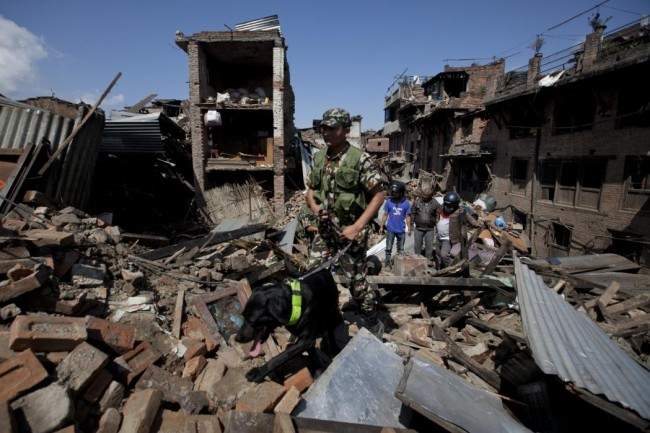 A rescue team with a sniffer dog walks at the site of destruction caused by Saturday's earthquake in Bhaktapur, on the outskirts of Kathmandu, Nepal, Monday, April 27, 2015. A strong magnitude earthquake shook Nepal's capital and the densely populated Kathmandu valley on Saturday devastating the region and leaving tens of thousands shell-shocked and sleeping in streets. (AP Photo/Niranjan Shrestha)