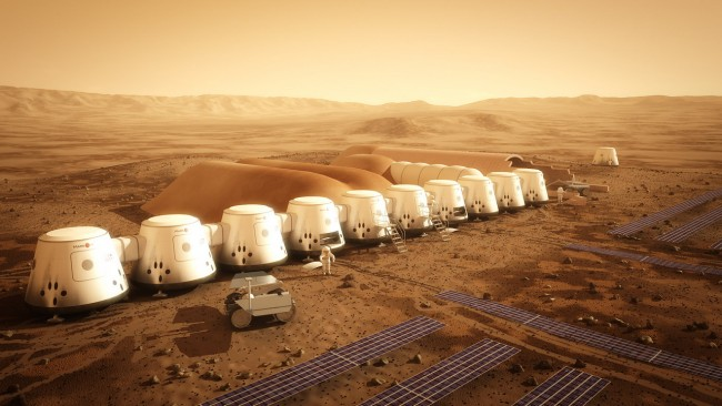 Local Input~ MUST CREDIT: Mars One/Bryan Versteeg/mars-one.com -- Artists rendering of Mars-One site, promoting project to start the first human colony on Mars by 2023.