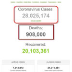 Thế giới đã có hơn 28 triệu người được ghi nhận nhiễm coronavirus SARS-CoV-2