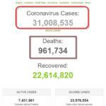 Thế giới đã có hơn 31 triệu người được ghi nhận nhiễm coronavirus SARS-CoV-2